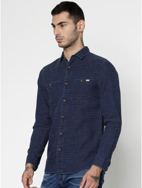 Blue Striped Dobby Slim Fit Full Sleeves Shirt