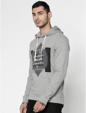 Grey Text and Graphic Print Hooded Sweatshirt