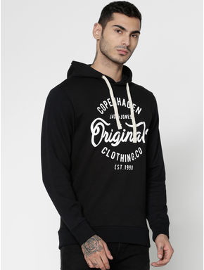 Black Text Print Hooded Sweatshirt