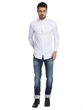 Solid White Casual Shirt