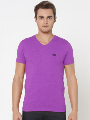 Pack of Two V-Neck T-Shirts- Purple and Black