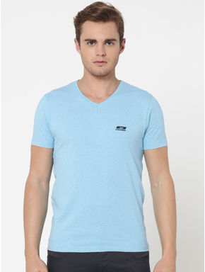 Pack of Two V-Neck T-Shirts- Light Blue and White