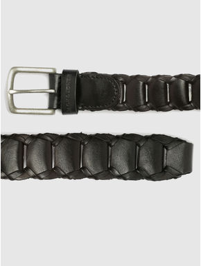 Black Pleated Leather Belt