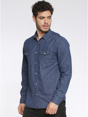 Blue Slim Fit Full Sleeves Denim Shirt