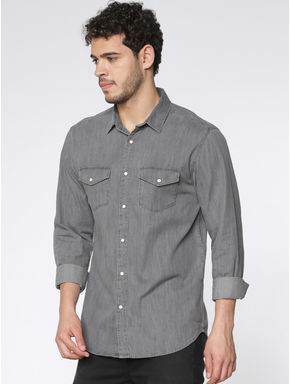 Grey Slim Fit Full Sleeves Denim Shirt