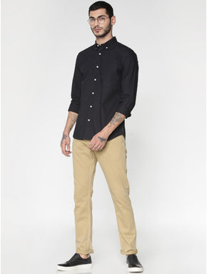 Brown Low Rise Over Dyed Slim Fit Pants
