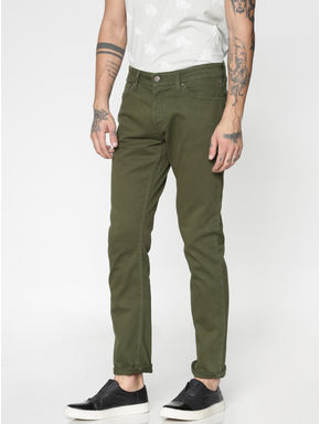 Green Low Rise Over Dyed Slim Fit Pants