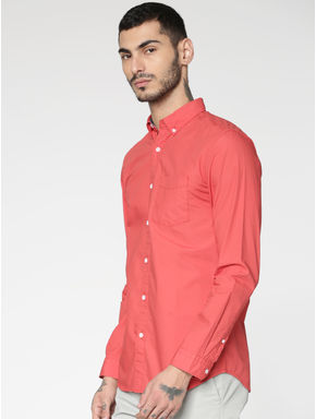 Red Slim Fit Full Sleeves Shirt