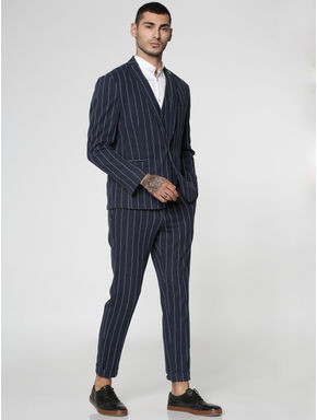 Blue Striped Slim Fit Trousers