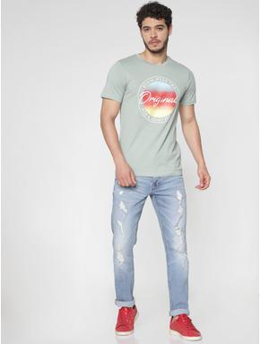 Green Printed Slim Fit Crew Neck T-Shirt