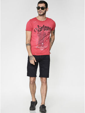 Red Graphic Print Washed Effect Slim Fit Crew Neck T-shirt
