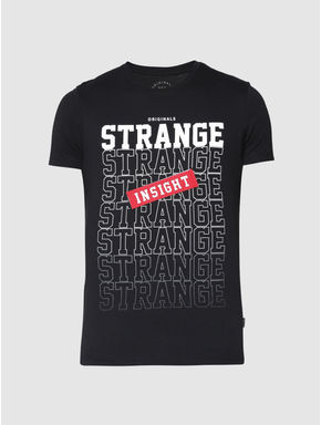 Black Text and Graphic Print Slim Fit Crew Neck T-shirt