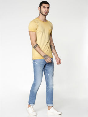 Brown Washed Slim Fit Crew Neck T-shirt
