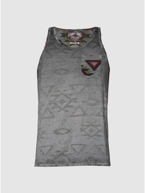 Black Dyed Graphic Print Slim Fit Tank Top