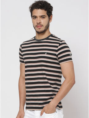 Black Striped Crew Neck T-shirt