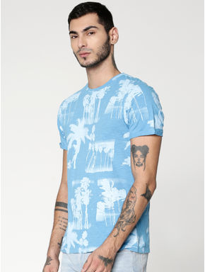 Blue All Over Print Crew Neck T-shirt