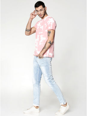 Pink All Over Print Crew Neck T-shirt
