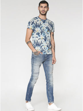 Light Blue Ripped Distressed Washed Ben Skinny Fit Jeans