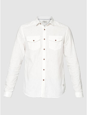 White Front Patch Pockets Slim Fit Full Sleeves Shirt