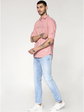 Pink Front Patch Pockets Slim Fit Full Sleeves Shirt