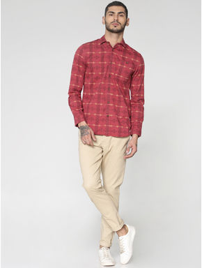 Red All Over Abstract Print Slim Fit Full Sleeves Shirt
