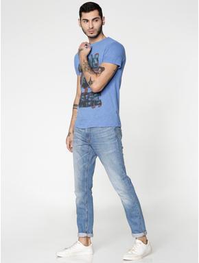 Blue Graphic Print Slim Fit Crew Neck T-shirt