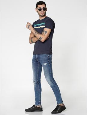Blue Colour Blocked Striped Print Slim Fit Crew Neck T-shirt