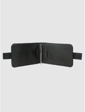 Black Strap Detail Leather Card Case