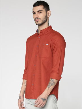 Red Patch Pocket Slim Fit Full Sleeves Shirt