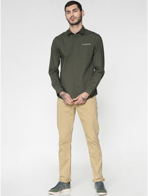 Green Text Print Patch Pocket Slim Fit Full Sleeves Shirt