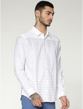 White Striped Slim Fit Full Sleeves Shirt