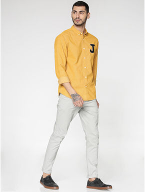 Yellow Text Patch Print Slim Fit Full Sleeves Shirt
