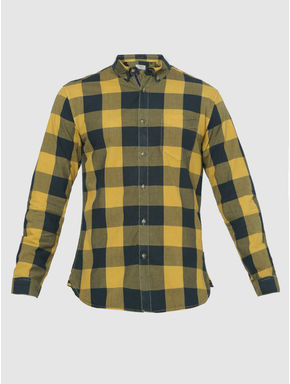 Yellow Checks Regular Fit Full Sleeves Shirt