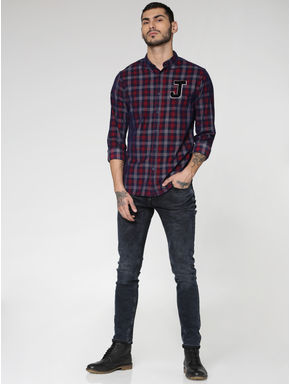 Navy Blue Checks Text Patch Print Slim Fit Full Sleeves Shirt