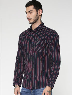 Purple Striped Patch Pocket Slim Fit Full Sleeves Shirt