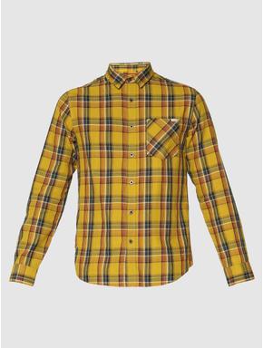 Mustard Multicoloured Checks Patch Pocket Slim Fit Full Sleeves Shirt