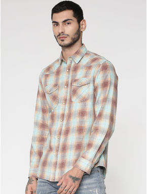 Brown Multicoloured Checks Patch Pocket Slim Fit Full Sleeves Shirt