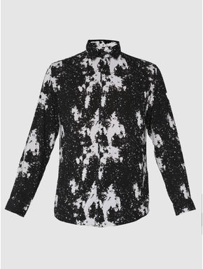 Black and White Abstract Printed Slim Fit Full Sleeves Shirt