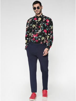 Black All Over Floral Print Slim Fit Full Sleeves Shirt
