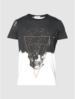 White and Black Graphic Print Slim Fit Crew Neck T-shirt