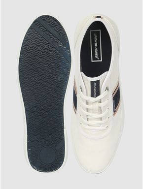 White Contrast Denim Striped Detail Lace Up Sneakers