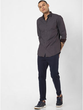 Navy Blue Mid Rise Pants