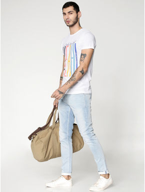 Light Blue Dobby Liam Skinny Fit Jeans
