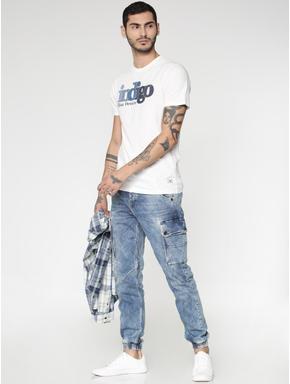 Light Blue Heavy Fade Multi Pockets Paul Anti Fit Jeans