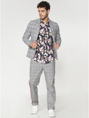 Grey Checks Double Button Blazer