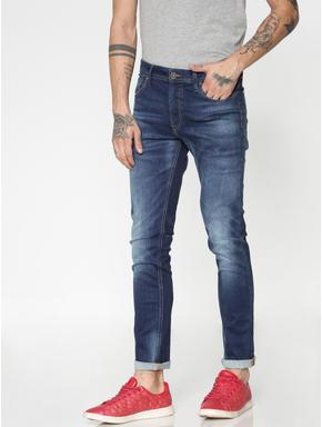 Blue Mildly Distressed Ben Skinny Fit Jeans