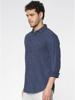 Dark Blue Striped Full Sleeves Shirt