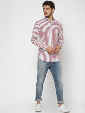 Brown Striped Full Sleeves Shirt