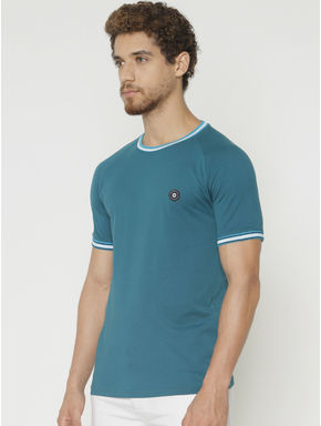 Blue Contrast Tipping Crew Neck T-shirt