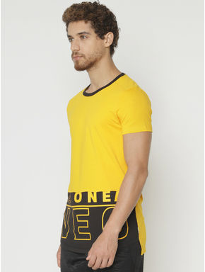 Yellow Printed Crew Neck T-shirt